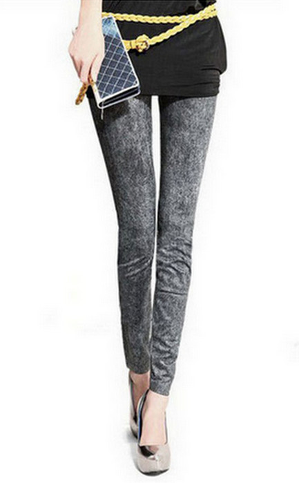 Grå Svart Seamless Jeans Jeggings Leggings