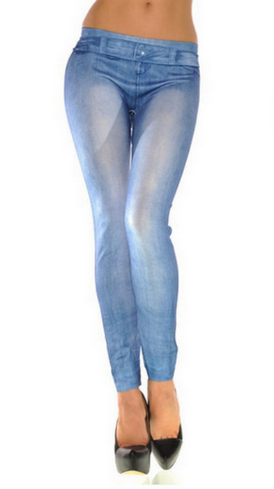 Höst Vinter Seamless Jeans Jeggings Leggings