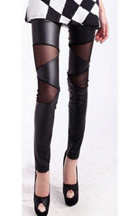 Metallic Leather Lace Cross Wrap Leggings