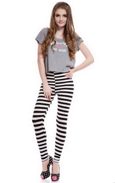Geometry Stripe Printing Leggings