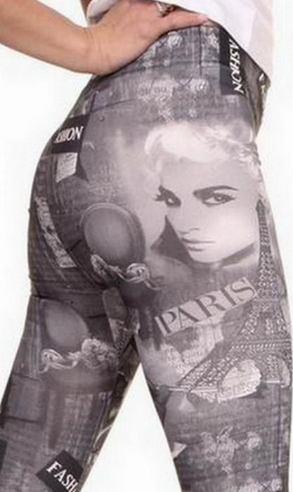 Lady And Paris Tattoo Printing Leggings