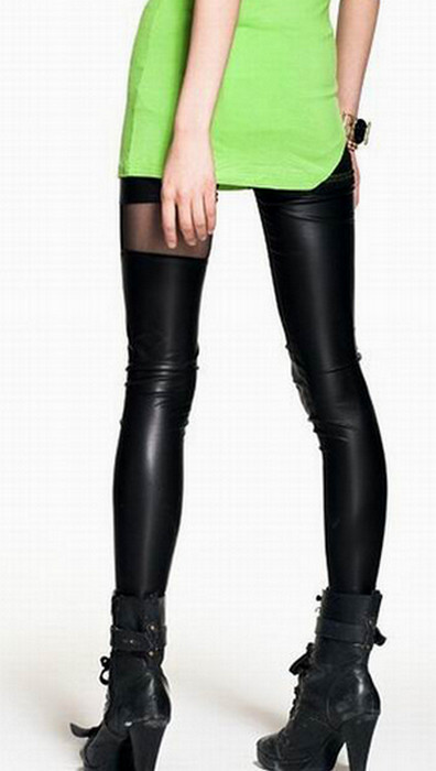 Lace Leather Mitred Leggings