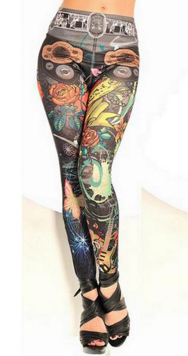 Seamless Love Music Tattoo Leggings