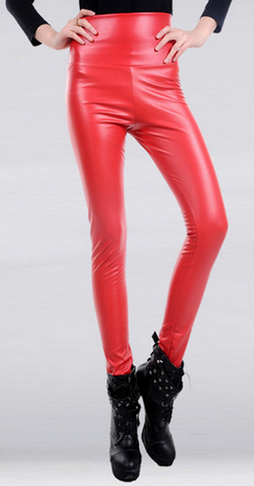 Red Faux Leather High Waist Leggings