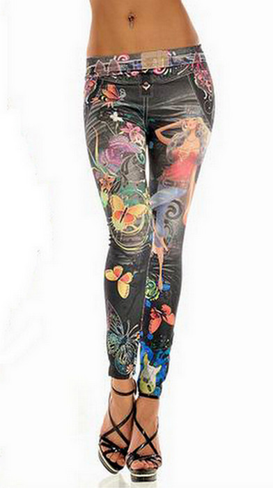 Black Tattoo Printing Leggings