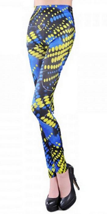 Women Graffiti Blue Tattoo Printing Leggings