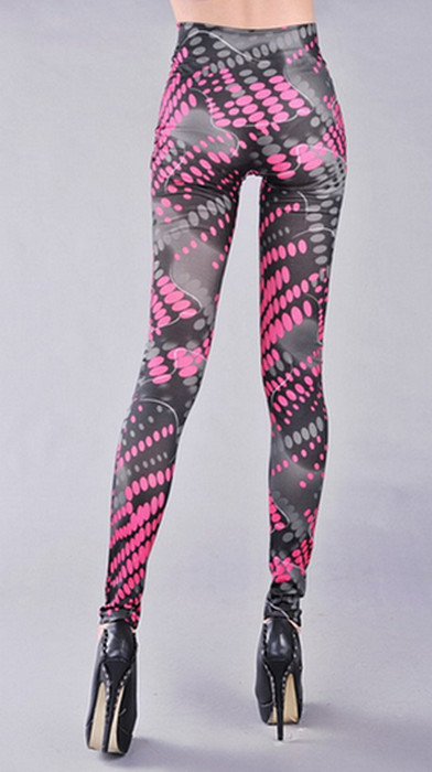 Women Graffiti Pink Tattoo Printing Leggings