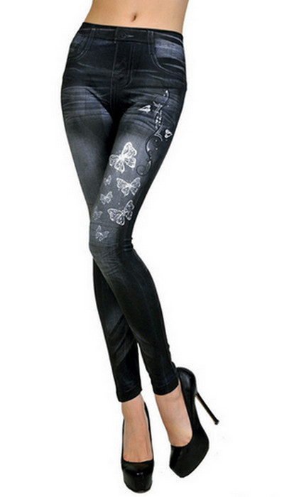 Black Butterfly Printing Leggings