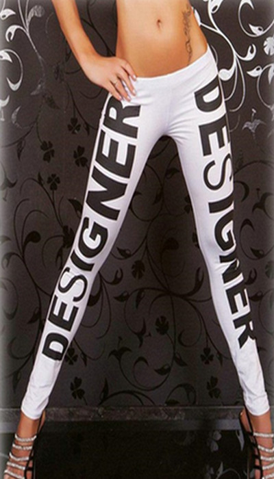 White Design Printed Leggings