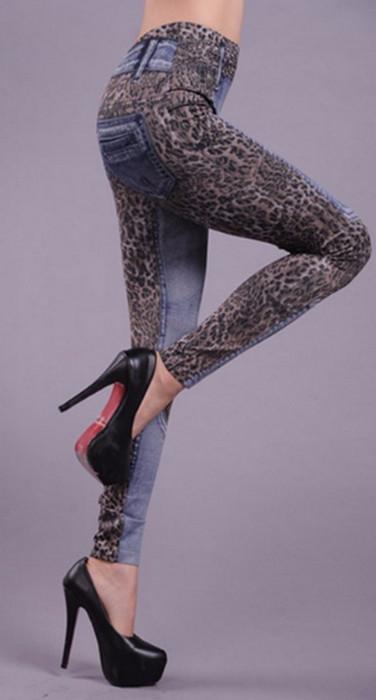 Jeans Look Leopard Leggings