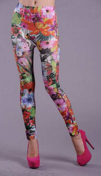Flower Colored Printed Leggings