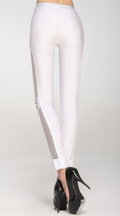 White Fishnet Bullet Leggings