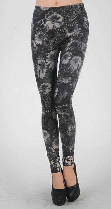 Black Flowers Tattoo Leggings