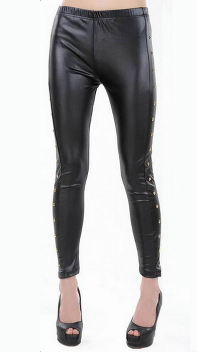Svart Guld Faux Leather Leggings