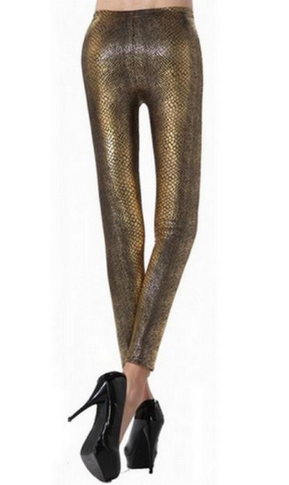 Golden Snake Faux Leather Leggings
