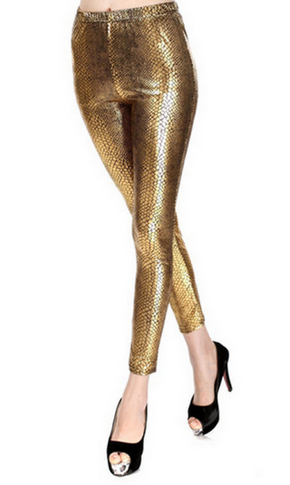 Golden Snake Faux Leather Leggings