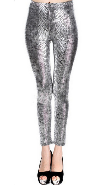 Silver Snake Faux Leather Leggings