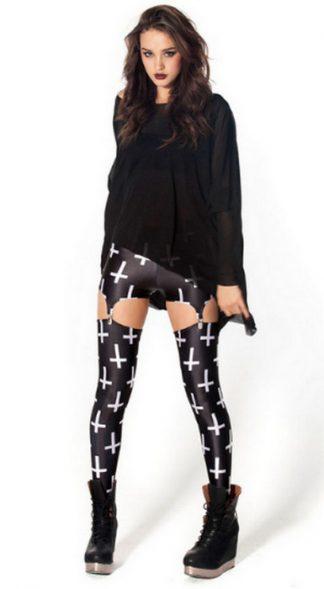 Suspenders Black Cross Leggings