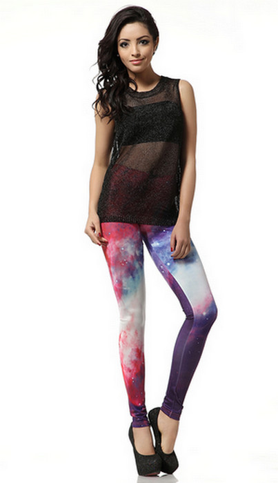 Photographic Galaxy Print Leggings