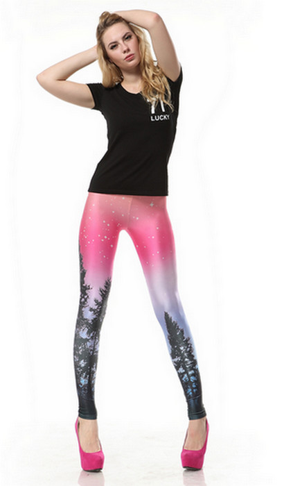 Pine Tree Printed Galaxy Pink Space Leggings