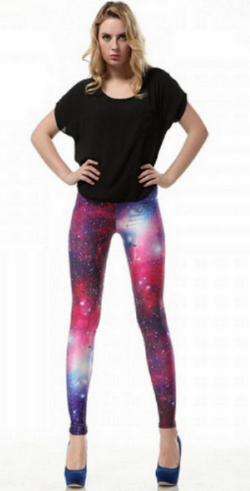 Red Star Shiny Galaxy Cosmic leggings