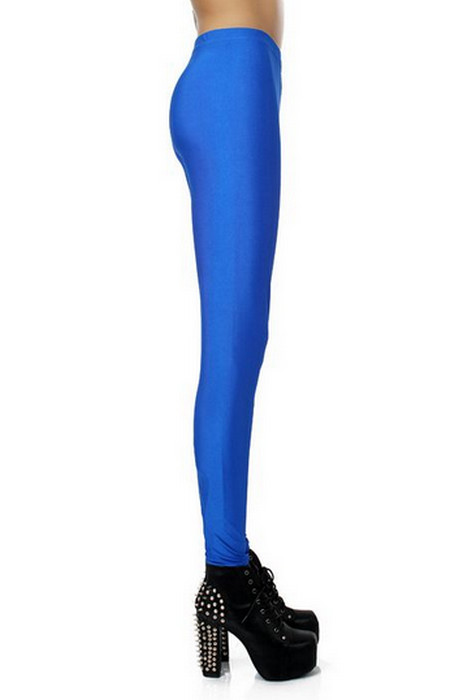 Blue Celebrity Style Metallic Shiny Leggings