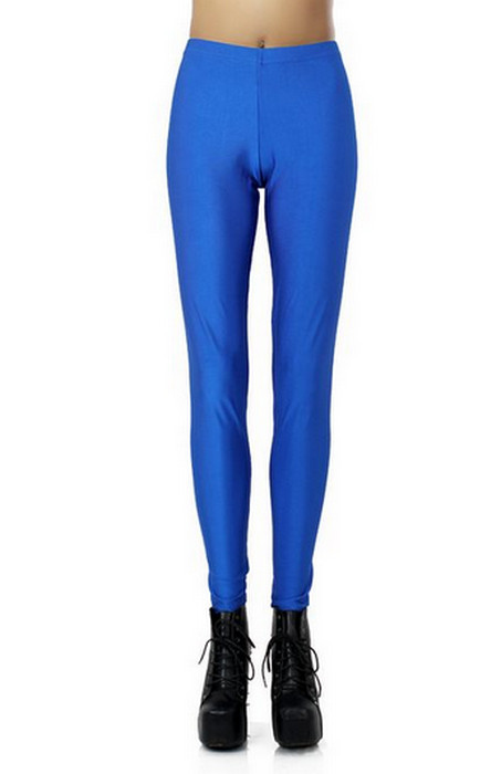 Blue Celebrity Style Metallic Shiny Leggings