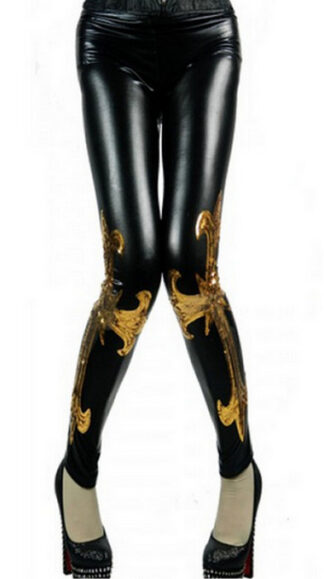 Black Golden Faux Leather Legging