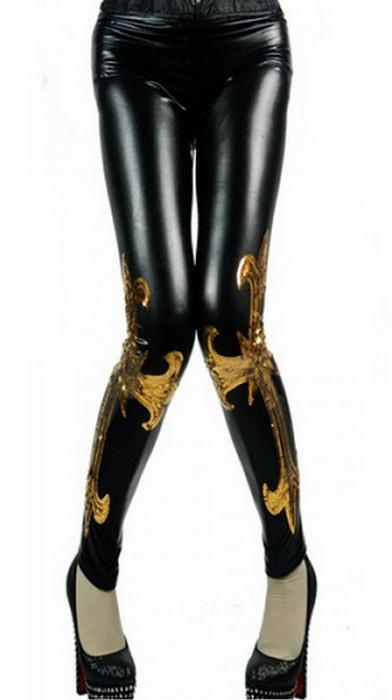 Black Golden Faux Leather Legging