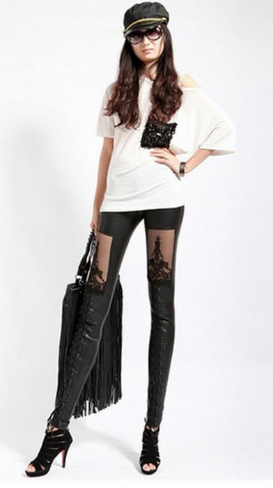 Black Lace Faux Leather Leggings