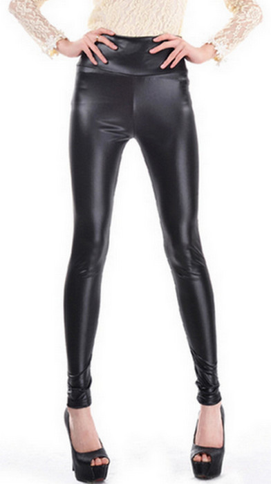 Black High Waist Faux Leather Leggings