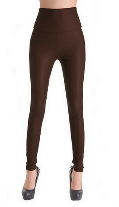Mörkbrun High Waist Faux Leather Leggings