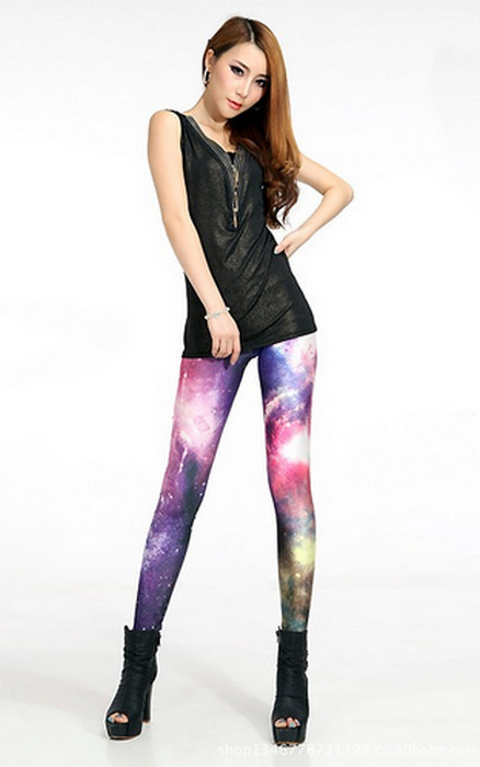 Galaxy Cosmic Red Blue Space Leggings