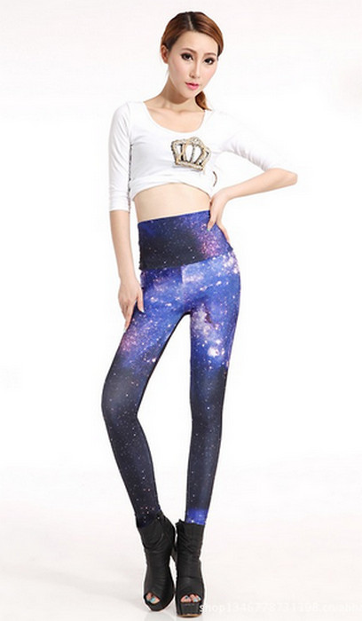 High Waist Galaxy Blue Star Space Leggings