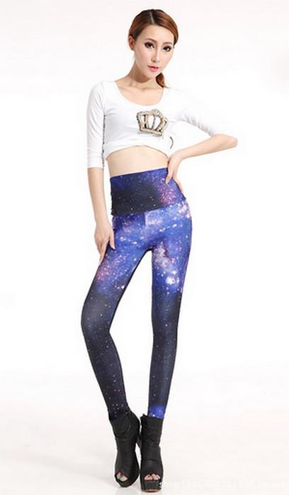 High Waist Galaxy Blue Star Space Leggings