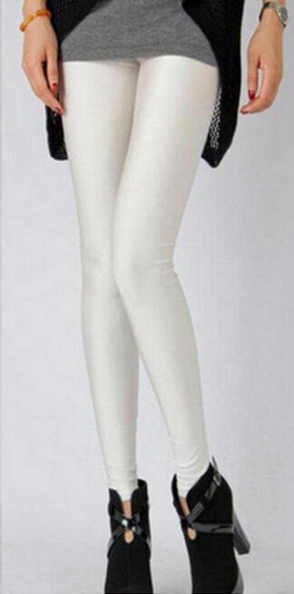 White Celebrity Style Metallic Shiny Leggings