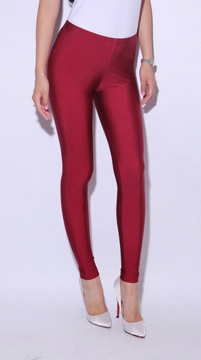 Wine Red Celebrity Style Metallic Shiny Leggings