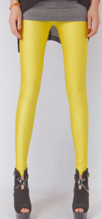 Fashion Celebrity Style Yellow Metallic Shiny Leggings