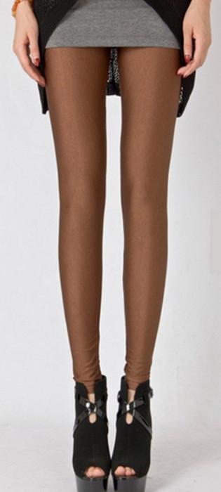 Fashion Celebrity Style Brown Metallic Shiny Leggings