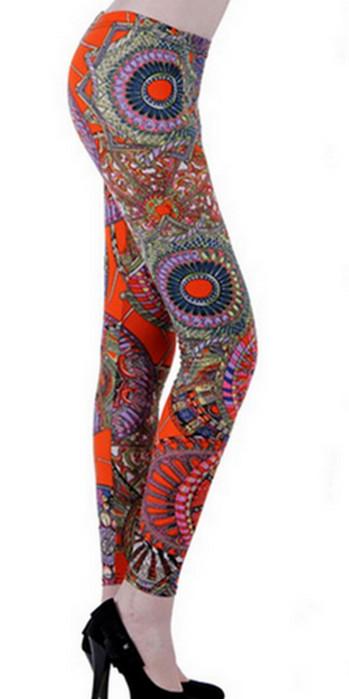 Orange Pattern Fashion Leggings