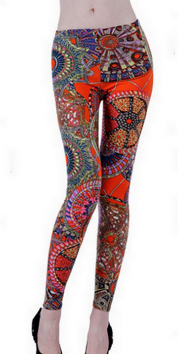 Orange Pattern Fashion Leggings