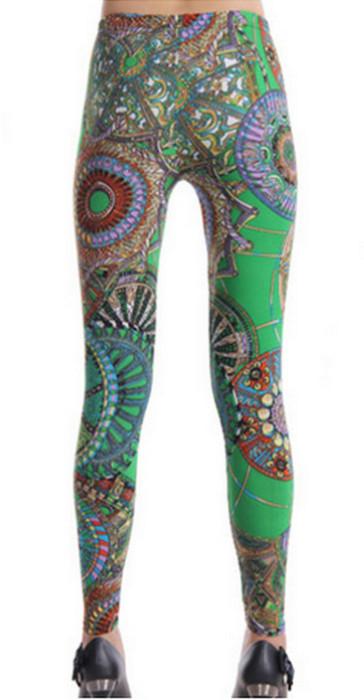 Grön Pattern Fashion Leggings