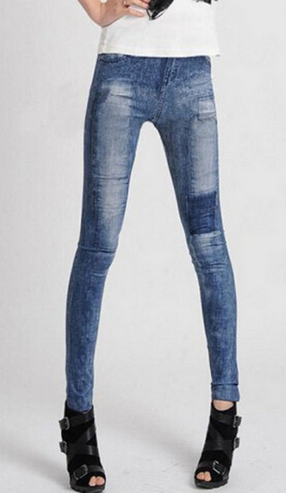 Blue Ladys Fashion Style Jeans Look Leggings