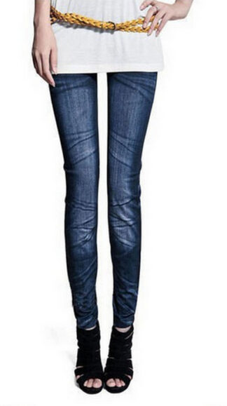 Blå Seamless Jeans Jeggings Legging