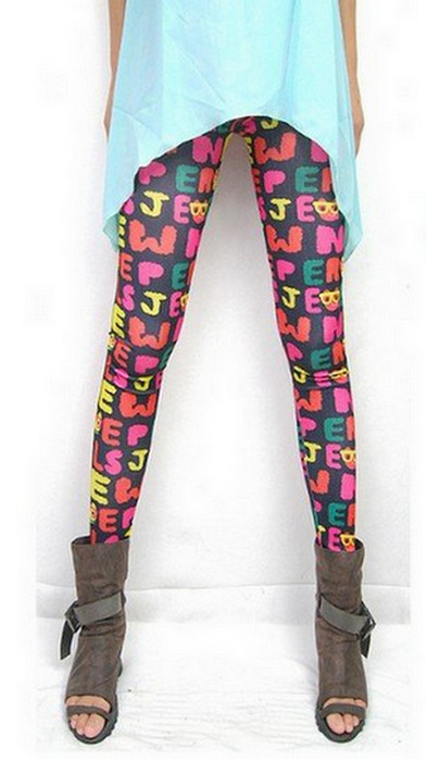 Rose Letter Tattoo Printing Leggings