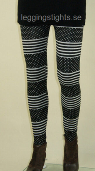 Black White Point Stripe Leggings