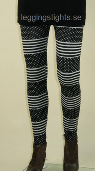 Black White Point Stripe Leggings