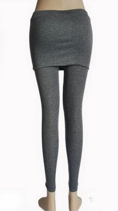 Side Zipper Dark Gray Legging With Skirt