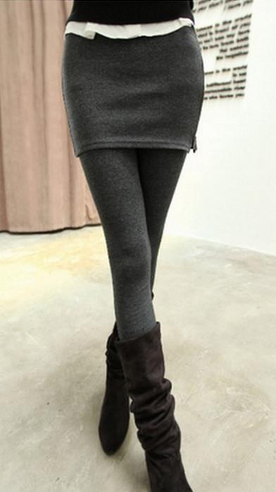 Side Zipper Dark Gray Legging With Skirt