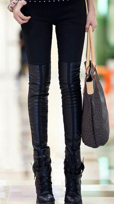Black Style Faux Leather Leggings